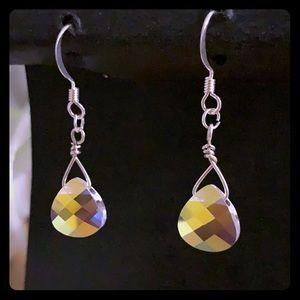 NWT Hand Beaded Swarovski crystal drop earrings